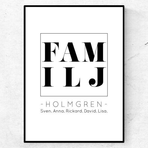 familj poster med era namn