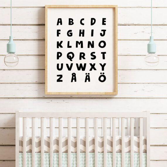 alfabetet poster tavla barnrum