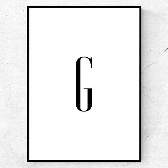 g bokstav letter poster