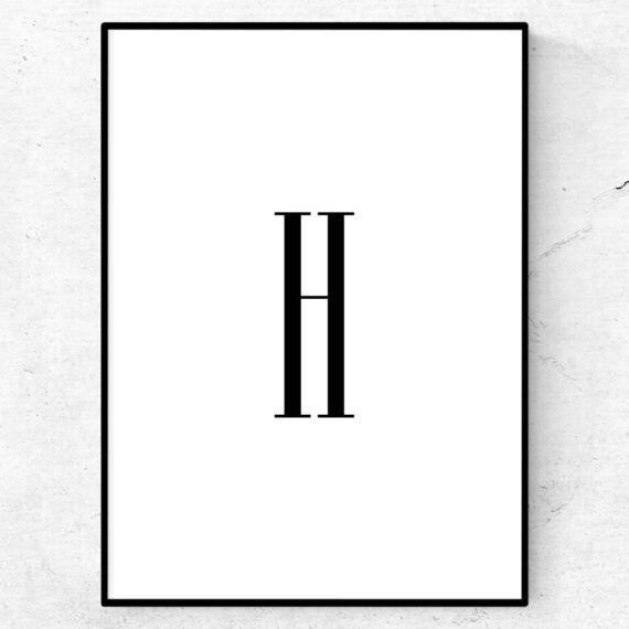 h bokstav letter poster