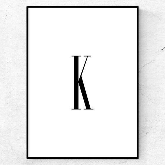 k bokstav letter poster