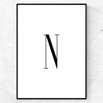 N bokstav letter poster