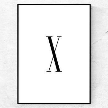x bokstav letter poster