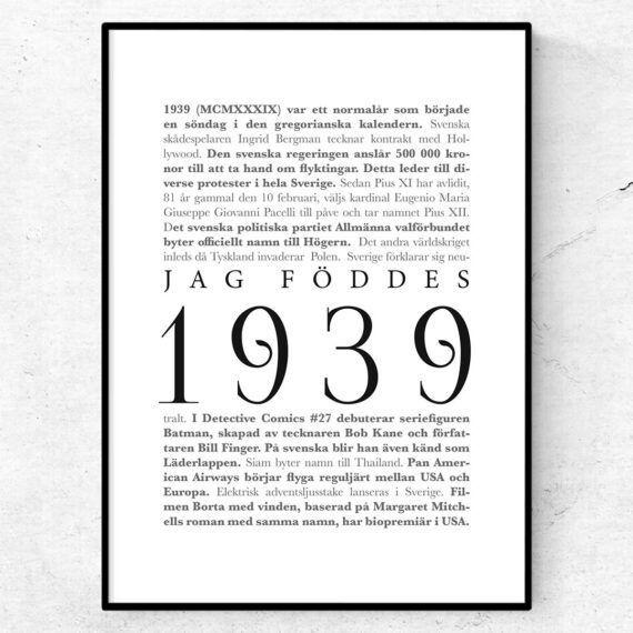 årtalsposter 1939 poster