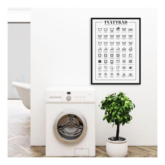 Poster tvättråd tvättinstruktioner tvättsymboler