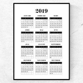 2019 kalender poster tavla