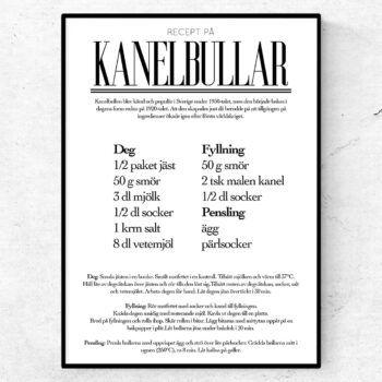 kanelbullar recept poster tavla