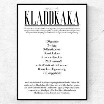 kladdkaka recept poster tavla