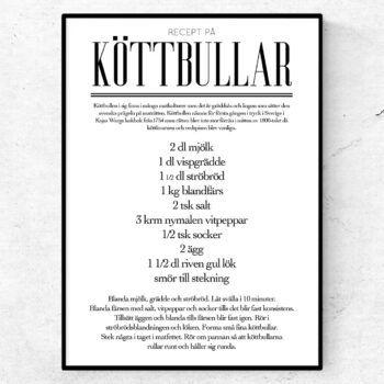 Köttbullar recept poster tavla