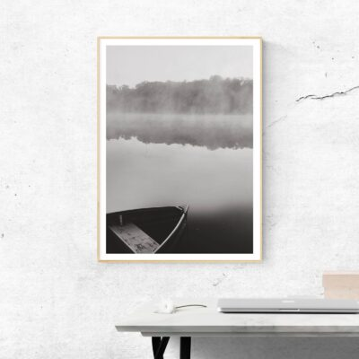 a boat ride in fog poster