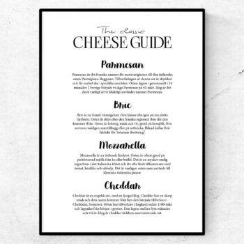 ostguide tavla poster ostar parmesan mozzarella cheddar brie
