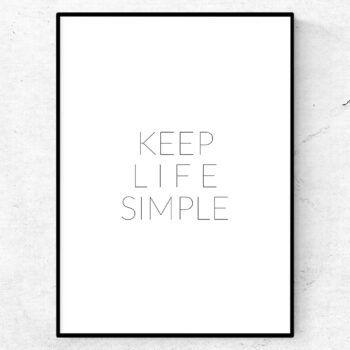 keep life simple poster citat