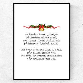 Nu tändas tusen juleljus poster julsång citat