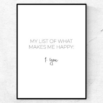 My list of what makes me happy poster alla hjärtans dag valentines love quote poster kärlek present