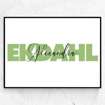 Big letters doptavla födelsetavla efternamn poster