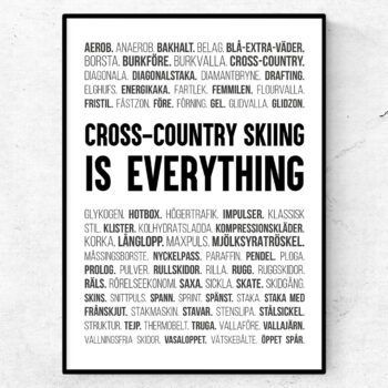 Cross-country skiing poster längdskidor skidor ord tavla