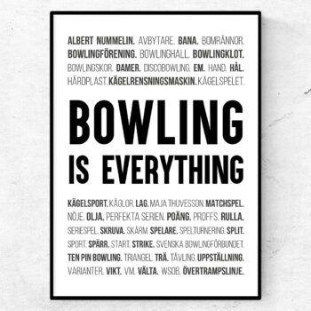 bowling poster ord tavla bowlingbana käglor