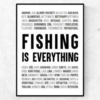 fiske sportfiske poster ord tavla pimpling