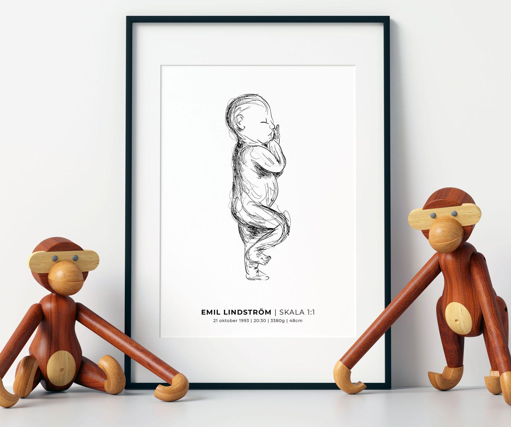 födelsetavla skala 1:1 bebis barn