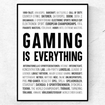 gaming e-sport poster ord tavla datorspel tv-spel esport