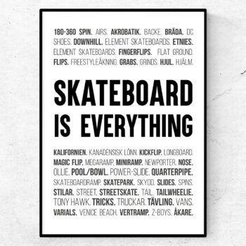 skateboard poster ord tavla skateboard