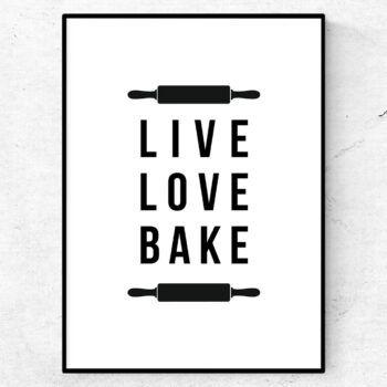 live love bake poster bakning mat kök tavla