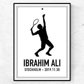 tennis poster tavla födelsetavla present