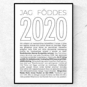 2020 årtalsposter tavla nyheter linje