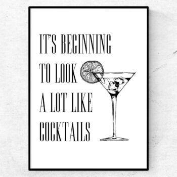It's beginning to look a lot like cocktails poster tavla bar bartender