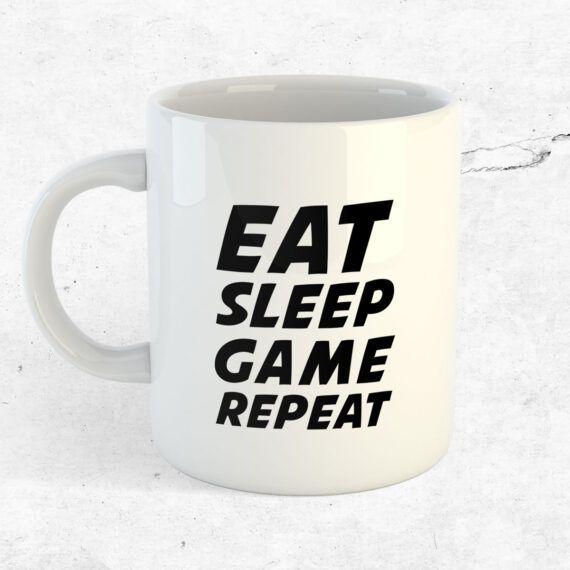 Eat, sleep, game, repeat gaming mugg present datorspel