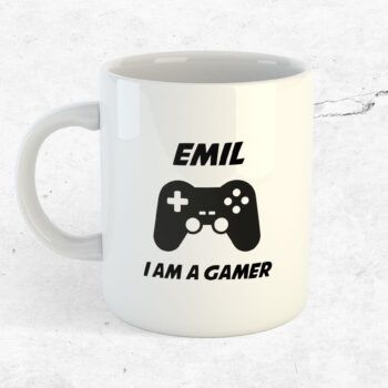 I am a gamer mugg med eget namn tryck