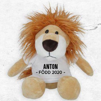 lejon mjukisdjur med eget tryck present barn dop