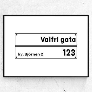 Min gata #1 gatuposter present tavla gata adress