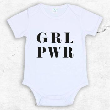 girl power baby body med tryck