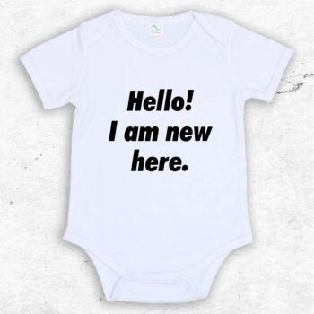 Hello! I am new here baby body med roligt tryck för nyfödd