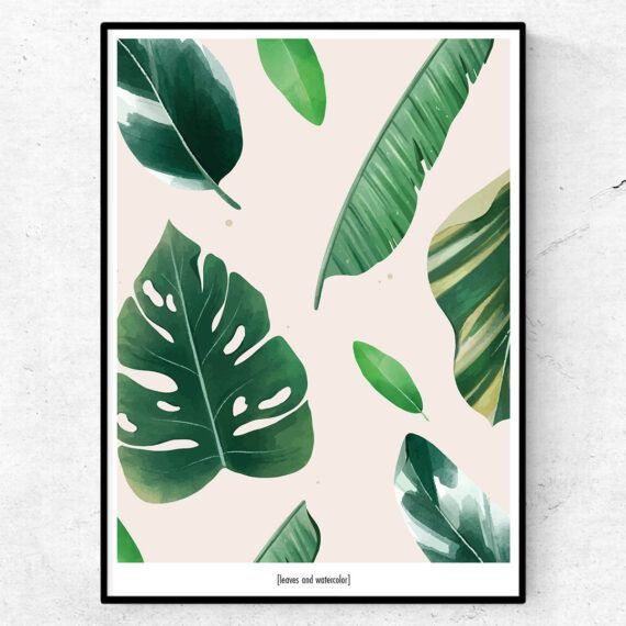 Leaves and water color poster