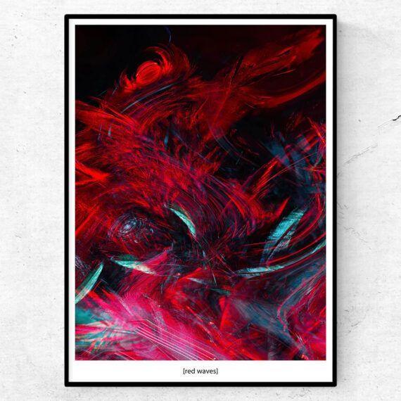 red waves abstrakt poster