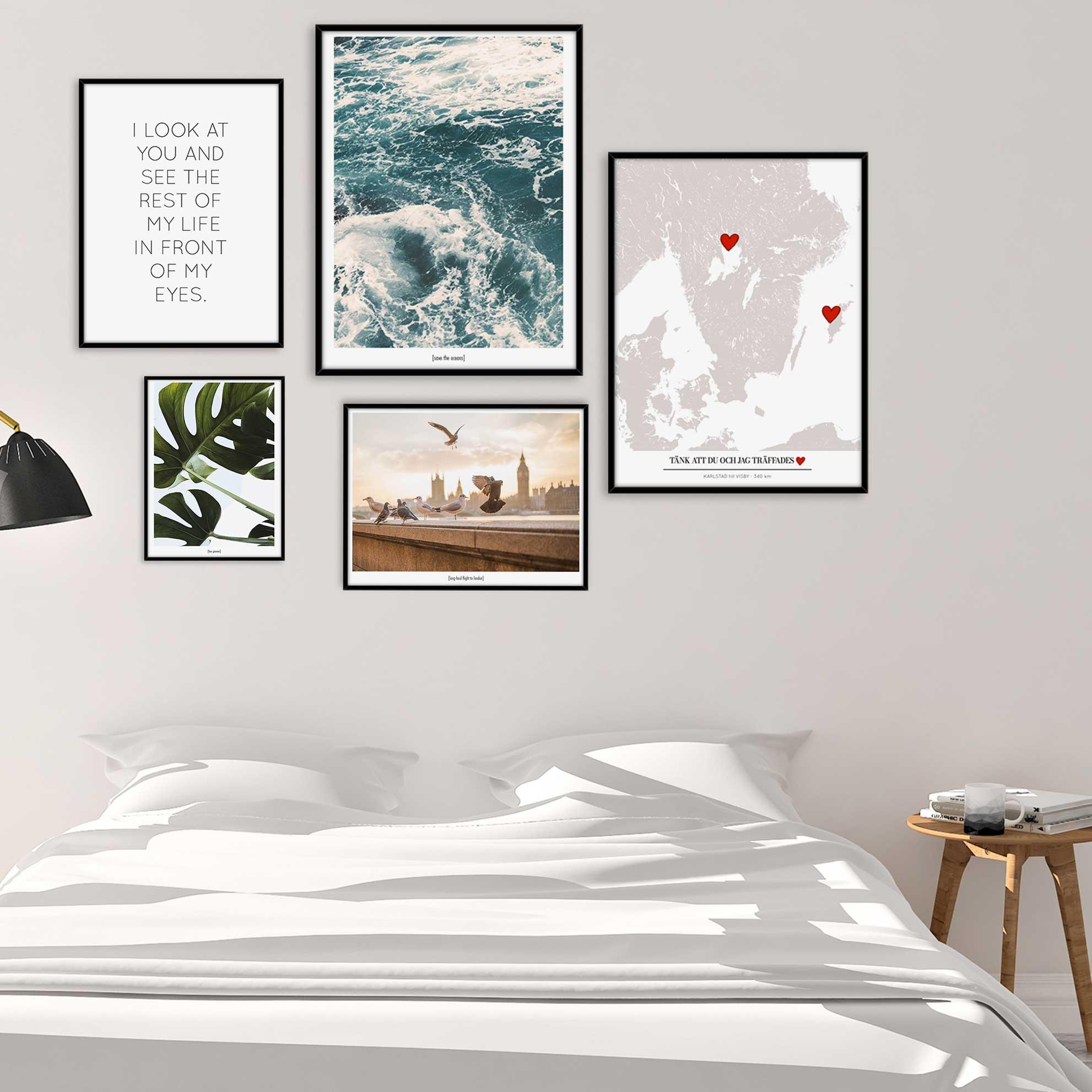 Tavelvägg sovrum inspiration