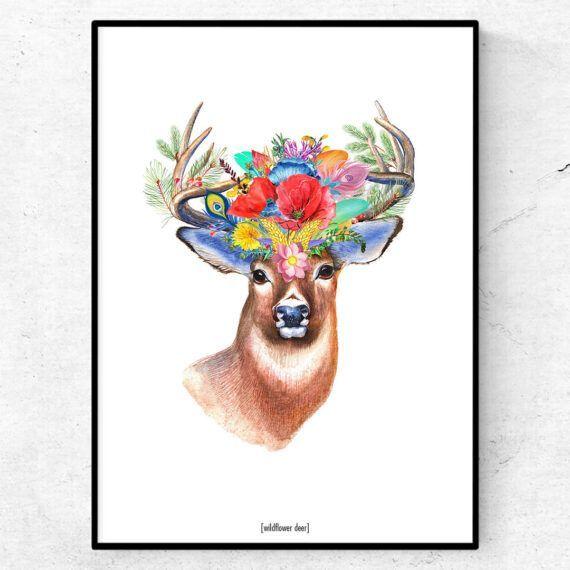 wildlfower deer poster hjort djur skog