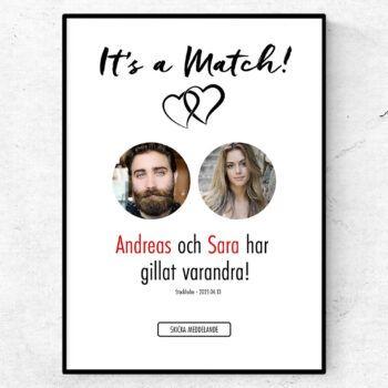 It's a match Tinder poster swipe kärlek present