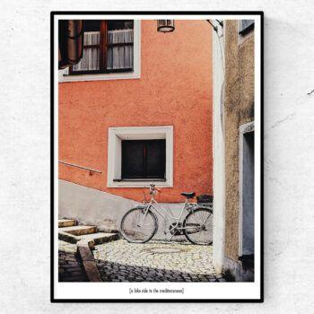 A bike ride to the mediterranean poster medelhavet cykel tavla
